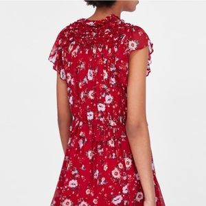 4838d762464 Zara Dresses - Zara Red Floral Ruffle Mini Dress
